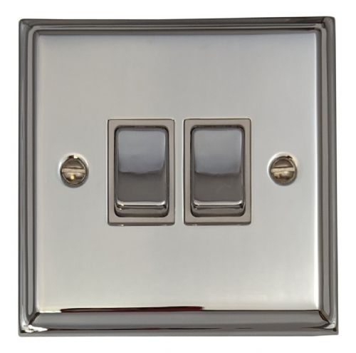 G&H DC202 Deco Plate Polished Chrome 2 Gang 1 or 2 Way Rocker Light Switch